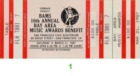 Bay Area Music Awards Vintage Ticket