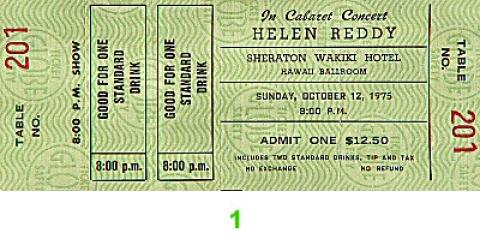 Helen Reddy Vintage Ticket