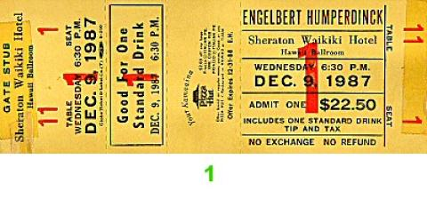 Engelbert Humperdinck Vintage Ticket