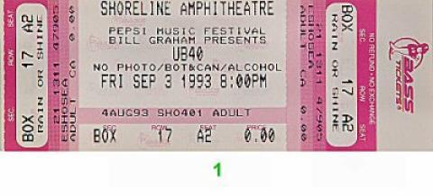 UB40 Vintage Ticket