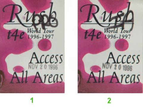 Rush Backstage Pass