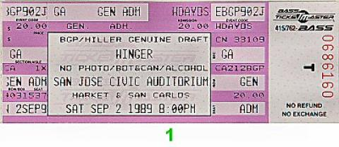 Winger Vintage Ticket
