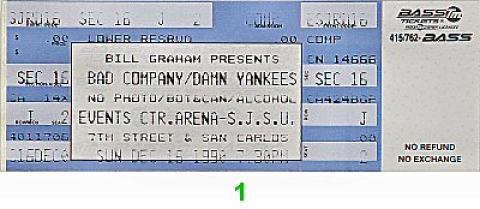 Bad Company Vintage Ticket