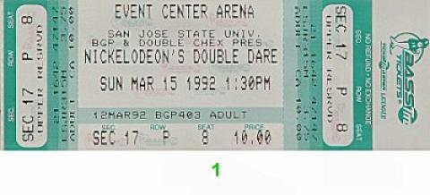 Nickelodeon's Double Dare Vintage Ticket