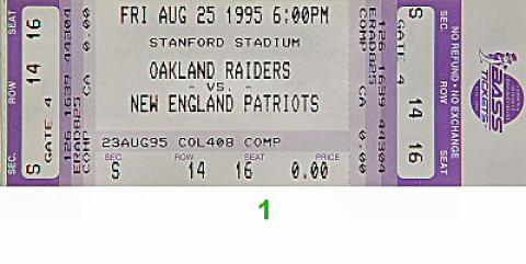 Oakland Raiders vs. New England Patriots Vintage Ticket