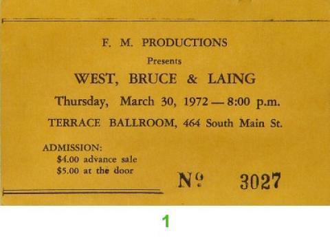 West, Bruce & Laing Vintage Ticket
