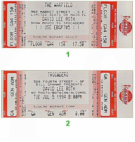 David Lee Roth Vintage Ticket