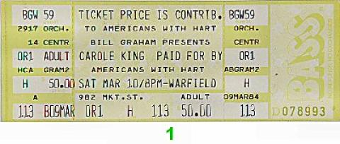 Carole King Vintage Ticket