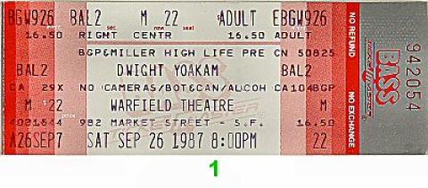 Dwight Yoakam Vintage Ticket