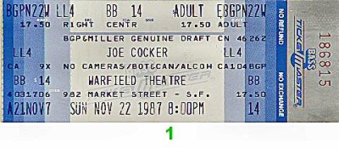 Joe Cocker Vintage Ticket