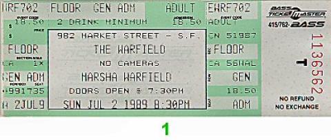 Marsha Warfield Vintage Ticket