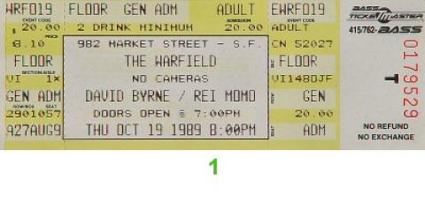 David Byrne Vintage Ticket