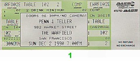 Penn and Teller Vintage Ticket