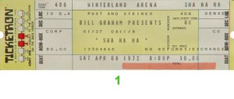 Sha Na Na Vintage Ticket