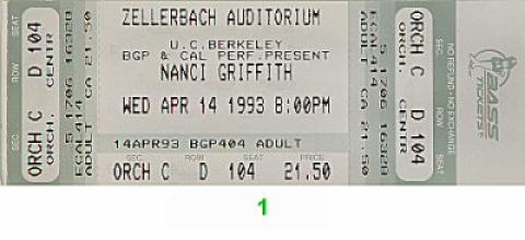 Nanci Griffith Vintage Ticket