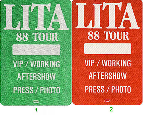 Lita Ford Backstage Pass