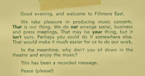 Fillmore East Handbill
