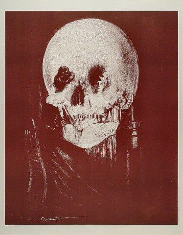 Skull/Woman Looking Into Mirror Poster