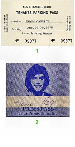 Shaun Cassidy Backstage Pass