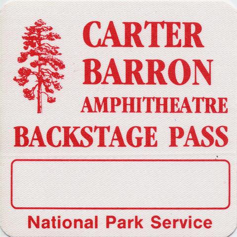 Carter Barron Amphitheatre Backstage Pass
