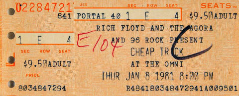 Cheap Trick Vintage Ticket