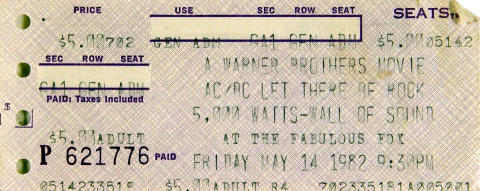 A Warner Brothers Movie AC/DC Let There Be Rock Vintage Ticket