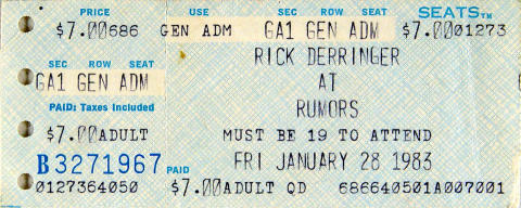 Rick Derringer Vintage Ticket