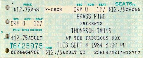Thompson Twins Vintage Ticket