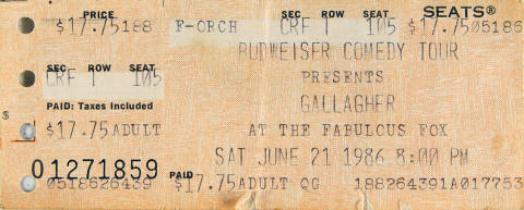 Gallagher Vintage Ticket