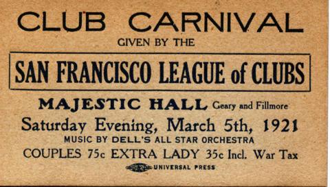 Majestic Hall Vintage Ticket