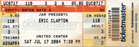 Eric Clapton Vintage Ticket
