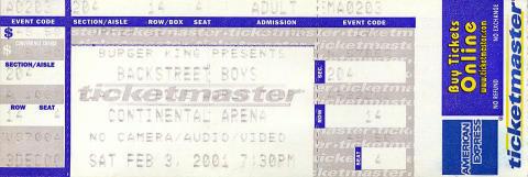 Backstreet Boys Vintage Ticket