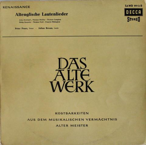 """Das Alte Werk: Altenglische Lautenlieder Vinyl 12"""""""