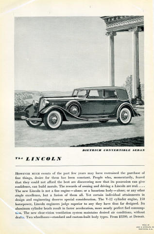 Lincoln: Dietrich Convertible Sedan Vintage Ad, 1934 at Wolfgang's