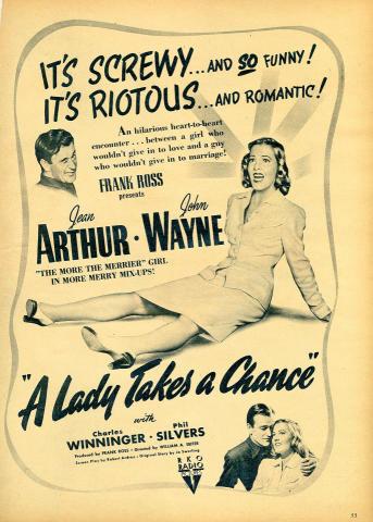 A Lady Takes A Chance Vintage Ad