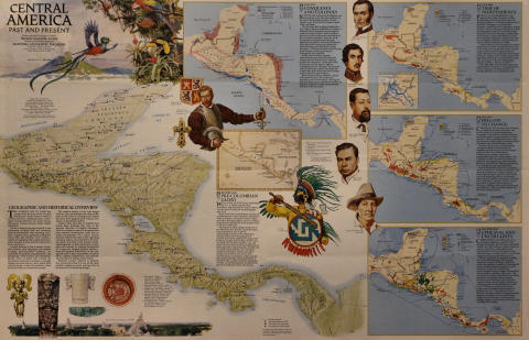 Map Of Central America: Past And Present Poster