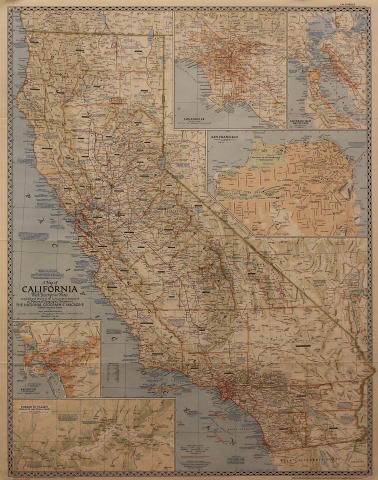 National Geographic Map Of California Poster