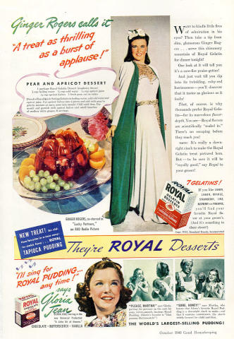Royal Gelatin Desserts / Royal Chocolate Pudding Vintage Ad