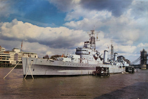 HMS Belfast in the Pool of London Poster