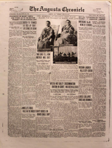 The Augusta Chronicle April 25, 1912 Poster