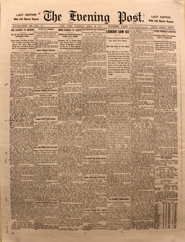 The Evening Post April 23, 1912 Poster