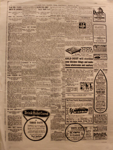 The Saint Paul Pioneer Press March 27, 1912 Poster