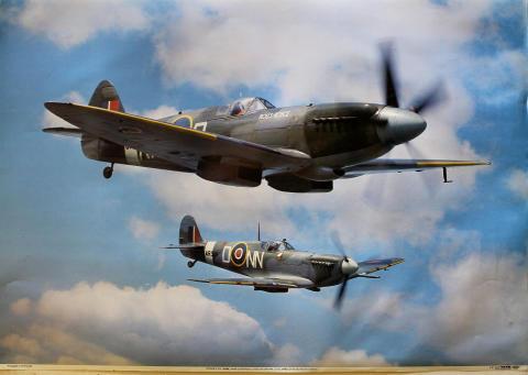 Spitfire F.XIV, RM689 with Spitfire L.F. VC, AR501 Poster