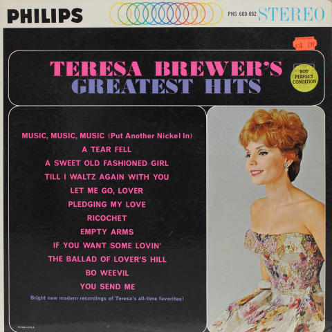 "Teresa Brewer's Greatest Hits Vinyl 12"""
