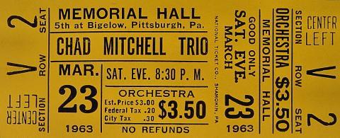 Chad Mitchell Trio Vintage Ticket