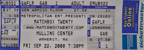 Matchbox Twenty Vintage Ticket