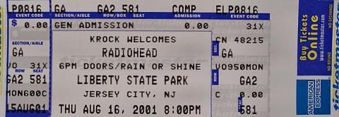 Radiohead Vintage Ticket