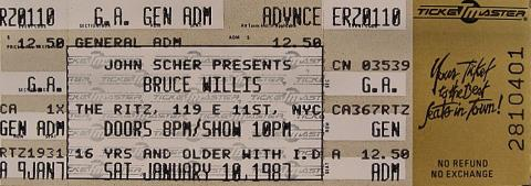 Bruce Willis Vintage Ticket
