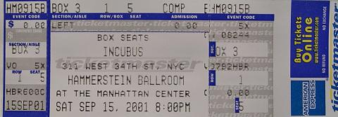 Incubus Vintage Ticket