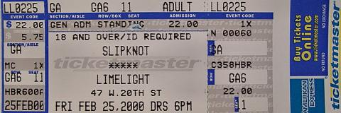 Slipknot Vintage Ticket